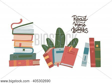 Set Of Stack Of Books Isolated On A White Background. Pile Of Colorful Books. Hand Drawn Educational