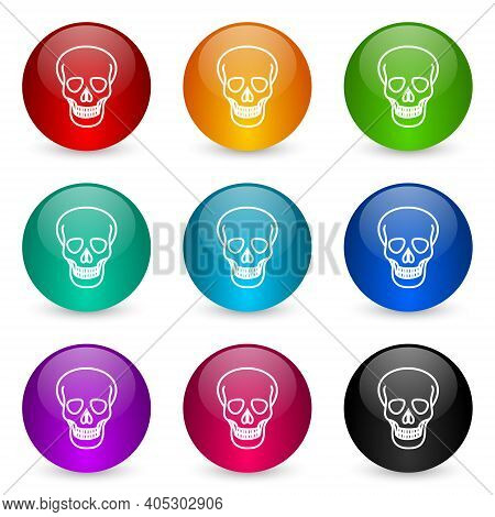 Skull Icon Set, Colorful Glossy 3d Rendering Ball Buttons In 9 Color Options For Webdesign And Mobil