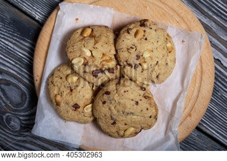 Oatmeal And Rice Flour Cookies. With The Addition Of Peanuts. Made At Home.