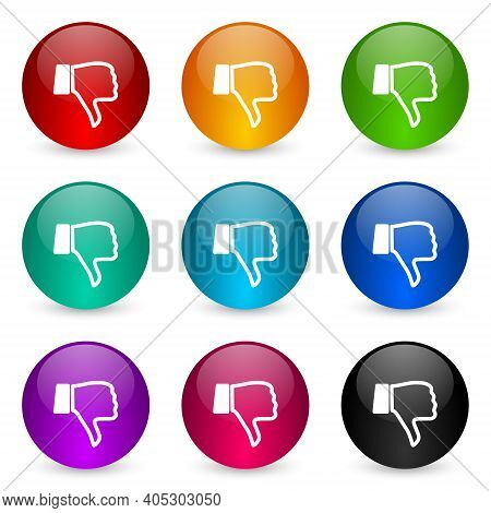 Dislike Icon Set, Colorful Glossy 3d Rendering Ball Buttons In 9 Color Options For Webdesign And Mob