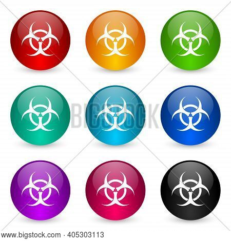 Biohazard Icon Set, Colorful Glossy 3d Rendering Ball Buttons In 9 Color Options For Webdesign And M