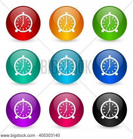 Alarm Icon Set, Colorful Glossy 3d Rendering Ball Buttons In 9 Color Options For Webdesign And Mobil