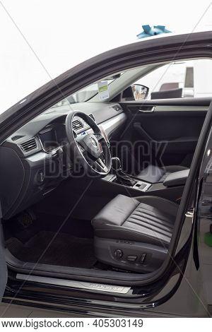 Russia, Izhevsk - September 25, 2020: Skoda Showroom. Interior Of New Car Business Class Superb. Fam