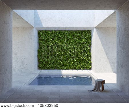 Inner courtyard with decorative vertical garden wall and pool. Minimal style. 3D illustration, rendering.
