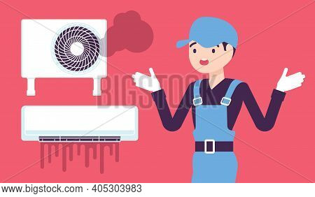 Air Conditioner Unit System Breakdown, Damage After Neglecting A Regular Maintenance. Repair Technic