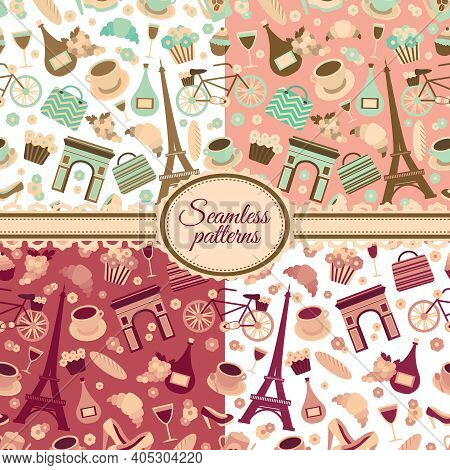Collection Of Seamless Patterns With Paris Landmarks And France Symbols Vector Illustration