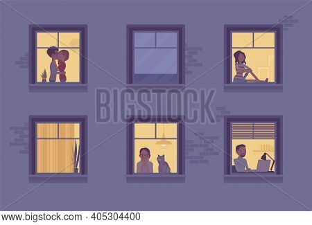 Windows Of A Night Time House With Neighbours. Multi-storey Building, People Spending Time Staying H