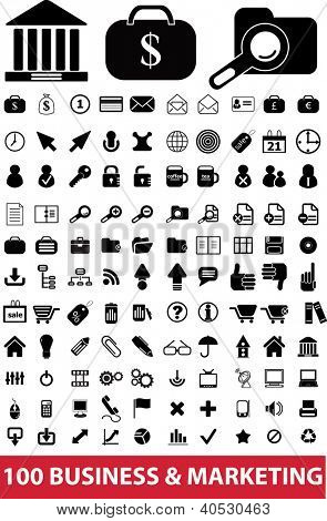 100 business & marketing icons set, vector
