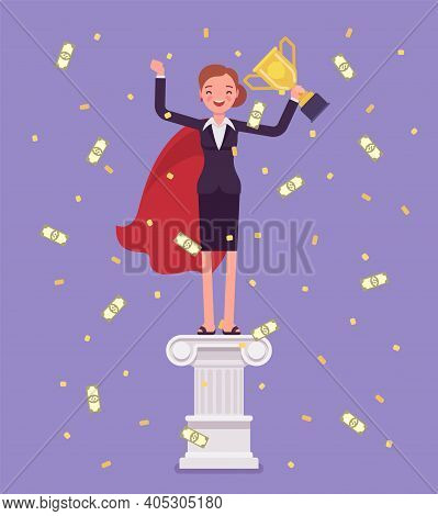 Employee Of Month, Woman On Pedestal. Happy Worker Having Outstanding Performance In Job, Business,
