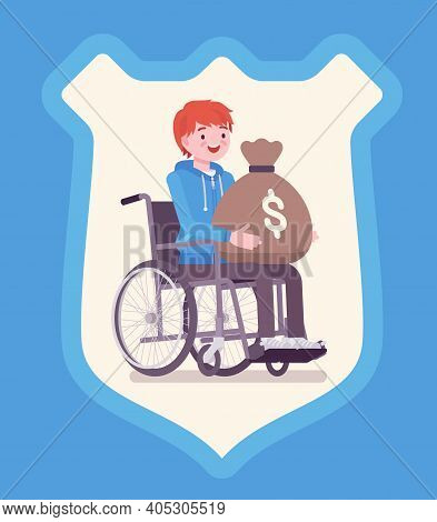 Disability Insurance Benefit Payments For Disabled Wheelchair Man. Person Holding Dollar Money Sack,