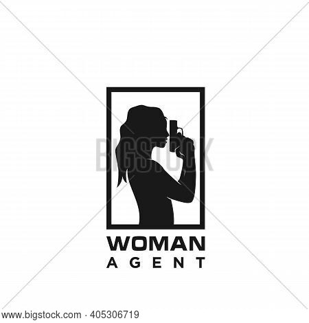 Silhouette Woman Holding A Weapon For Agent Spy Logo Design.