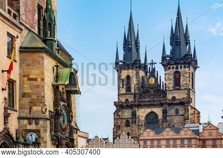 Church Of Our Lady Before Tyn And Astronomical Clock On Old Town Square In Prague, Czech Republic