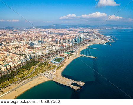 Aerial View Of Barcelona From Mediterranean Sea. Spain.