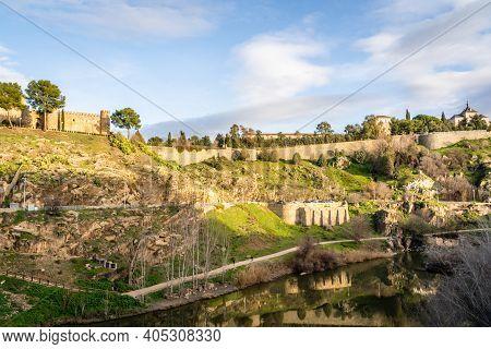 Sunny Landscape On Toledo Mountain View With Castillo San Servando Castle In Spain