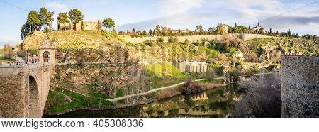 Panorama Landscape On Toledo Mountain View With Castillo San Servando Castle In Spain