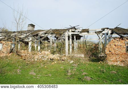 Ruins. Old Abandoned Ruined Farm. Devastation. Ruins And Remains Of An Old Abandoned Ruined Farm