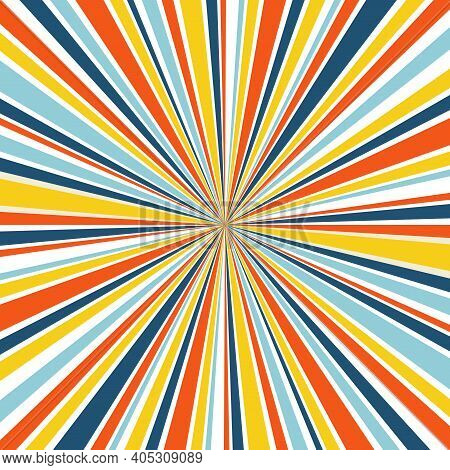 Abstract Background With Rays In Retro Colors. 1960s Retro Hippie Style Illustration. Design For Pos
