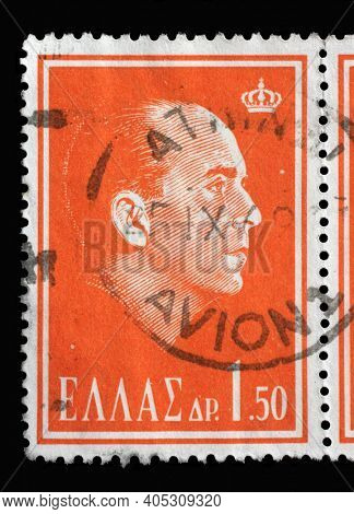 ZAGREB, CROATIA - AUGUST 28, 2014: Stamp printed in Greece commemorating the death of King Paul I of Greece, circa 1964