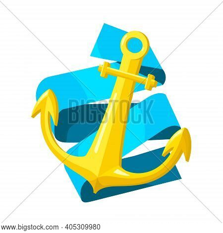 Vector Cartoon Isolated Metaphor Illustration With Golden Anchor. White Background, Blue Folded Ribb