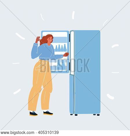Vector Illustration Of Woman Use Fridge. Woman Take Refrigerator. Girl Pulls An Apple Out Of The Fri