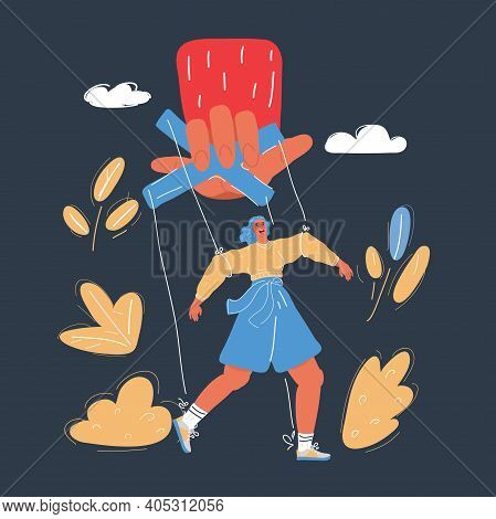 Vector Illustration Of Puppet Control By Big Hand. Woman In Dependency Concept On Dark Background.