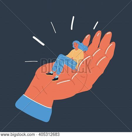 Vector Illustration Of Tiny Woman Sit Ig Mother S Palm Hand. Support Love And Dependence Concept On