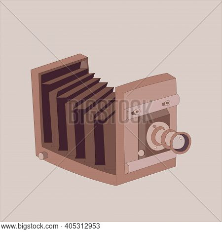 Vintage Single Lens Camera Made Of Wood
