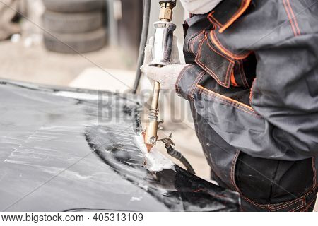 Spotter, A Welding Machine For Straightening Dents On The Car Body. Spot Welding Of Metal. Repair Se