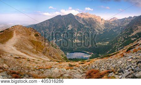 Panorama Of Breathtaking Popradske Pleso Mountain Lake View At Sunrise In High Tatras, Slovakia