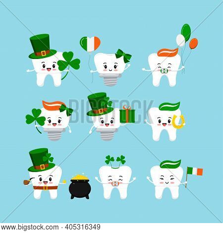 St Patrick Cute Teeth Icon Set Isolated. Dentist Cute White Tooth, Crown, Implant, With Braces Chara