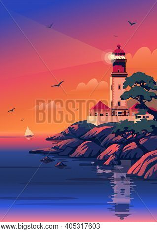 Lighthouse - Vector Landscape. Sea Landscape With Beacon On The Beach At Sunset. Vector Illustration