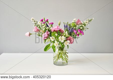 Bouquet 007, Step By Step Installation Of Flowers In A Vase. Flowers Bunch, Set For Home. Fresh Cut