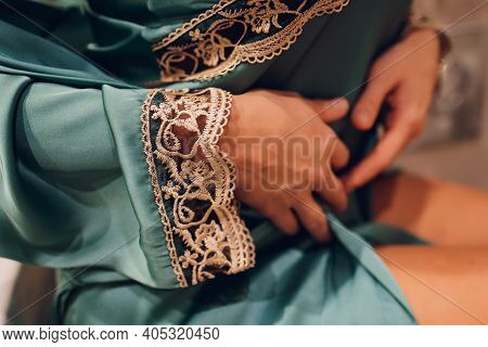 Close Up Photo Beautiful Tenderness Gorgeous She Her Lady Hold Arms Hands New Nightie Glam Collectio