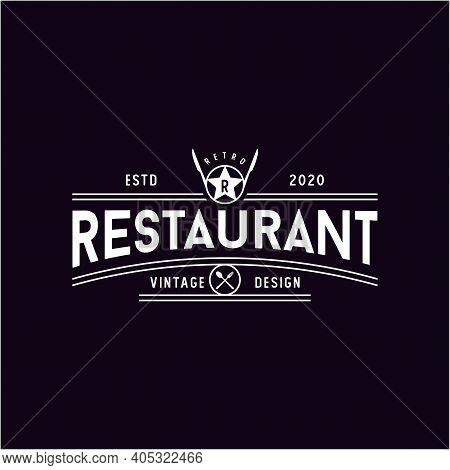 Spoon Fork Knife With Star For Restaurant Bar Bistro Vintage Retro Logo Design Vector