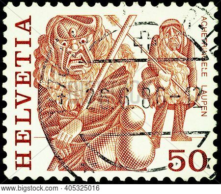 Moscow, Russia - January 20, 2021: Stamp Printed In Switzerland Shows Achetringele, Laupen, Series F