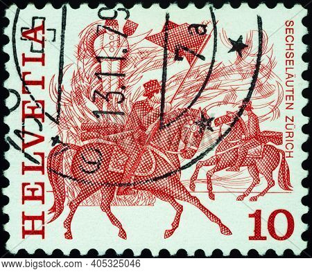 Moscow, Russia - January 20, 2021: Stamp Printed In Switzerland Shows Horse Race, Zurich, Series Fol