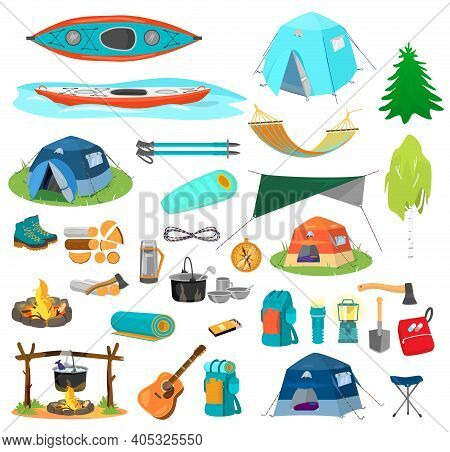 Big Vector Set Of Hiking Equipment In Flat Catroon Style. Camping Elements. Tents, Kayaks, Backpacks