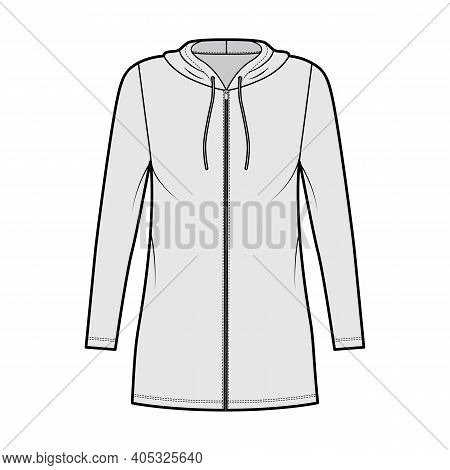 Hoodie Zip-up Dress Technical Fashion Illustration With Long Sleeves, Mini Length, Oversized Body, P