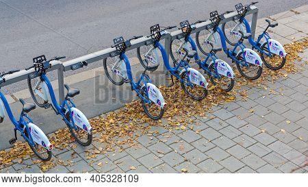 Oslo, Norway - October 30, 2016: Bicycle Rental Telia Raskest In Oslo, Norway.