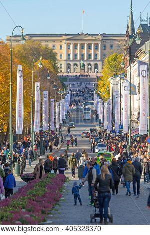 Oslo, Norway - October 29, 2016: People Walking At Karl Johans Gate Street In Oslo, Norway.