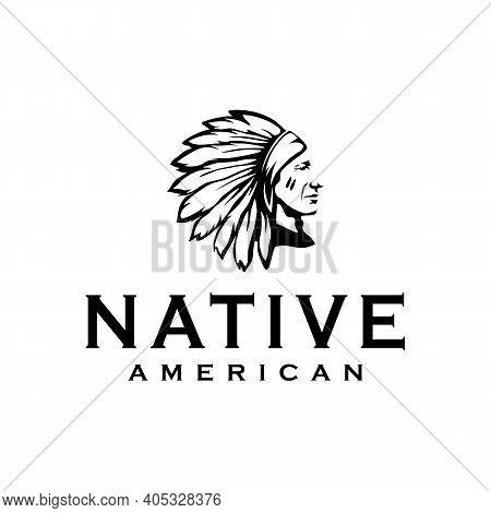 American Native Indian Chief Headdress Logo Design Illustration