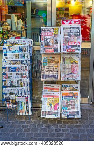 Oslo, Norway - October 29, 2016: Daily Newspapers At Stand In Front Of Shop In Oslo, Norway.