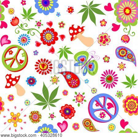 Funny wallpaper with hippie peace symbol, flower-power, poppies, butterfly, mushroom, marijuana leaves and paisley