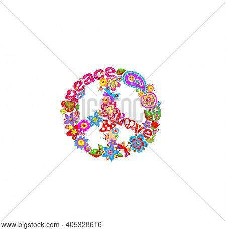 Funny paper cutting colorful hippie peace symbol with peace, love word, flower-power, fly agaric, paisley, butterflies for t-shirt, bag design, fashion print on white background