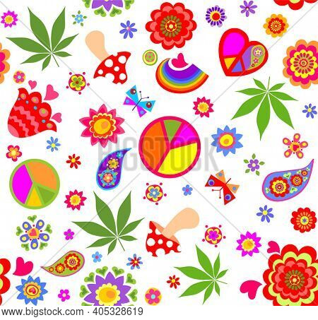 Funny seamless wallpaper with peace symbol, flower-power, marijuana leaves, fly agaric, paisley, butterflies and rainbow for bag design, fashion print, wrapping paper