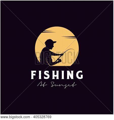 Angler Fishing Silhouette Logo Design At Sunset