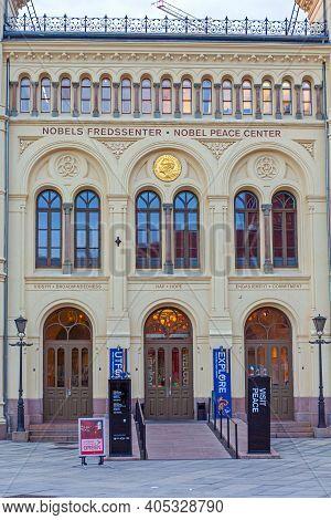 Oslo, Norway - October 30, 2016: Entrance To Alfred Nobel Piece Center Building In Oslo, Norway.