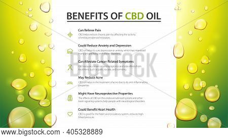 Web Banner With White Large Stripe In The Middle And Oil Drops. Medical Uses For Cbd Oil, Benefits O