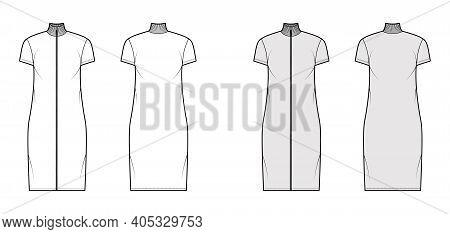 Turtleneck Zip-up Dress Technical Fashion Illustration With Short Sleeves, Knee Length, Oversized Bo