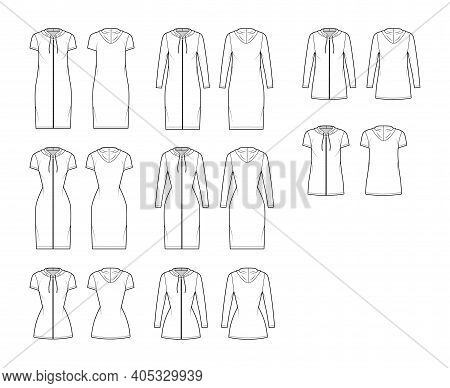 Hoodie Zip-up Dress Technical Fashion Illustration With Long, Short Sleeves, Knee, Mini Length, Over